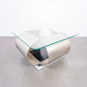 Tavolino da caffè acciaio stile Monnet design anni '70