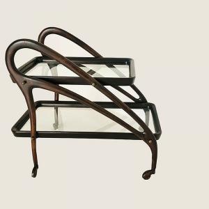 Carrello bar Tavolino in legno e vetro Ico Parisi