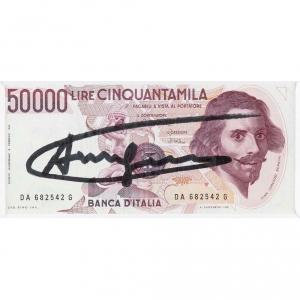 50000 Lire lira Warhol signed Andy Warhol