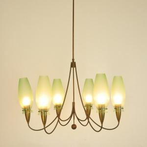 Lampadario 6 luci ottone design Mid Century