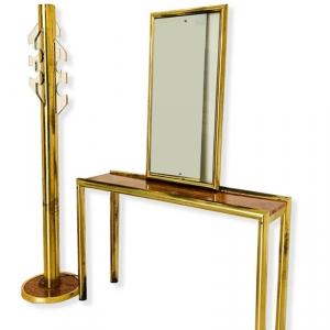 Consolle Appendiabiti E Specchio ottone radica