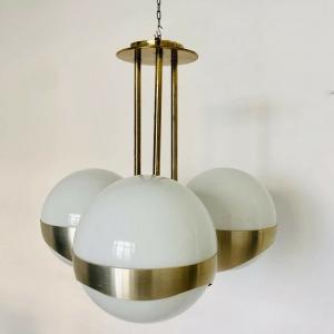 Lampadario LAMPERTI a tre luci in ottone e vetro