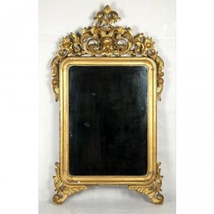 Specchio al mercurio con cornice dorata della metà 800