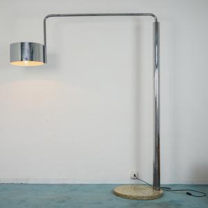 Lampada da terra con base in marmo e acciaio cromato