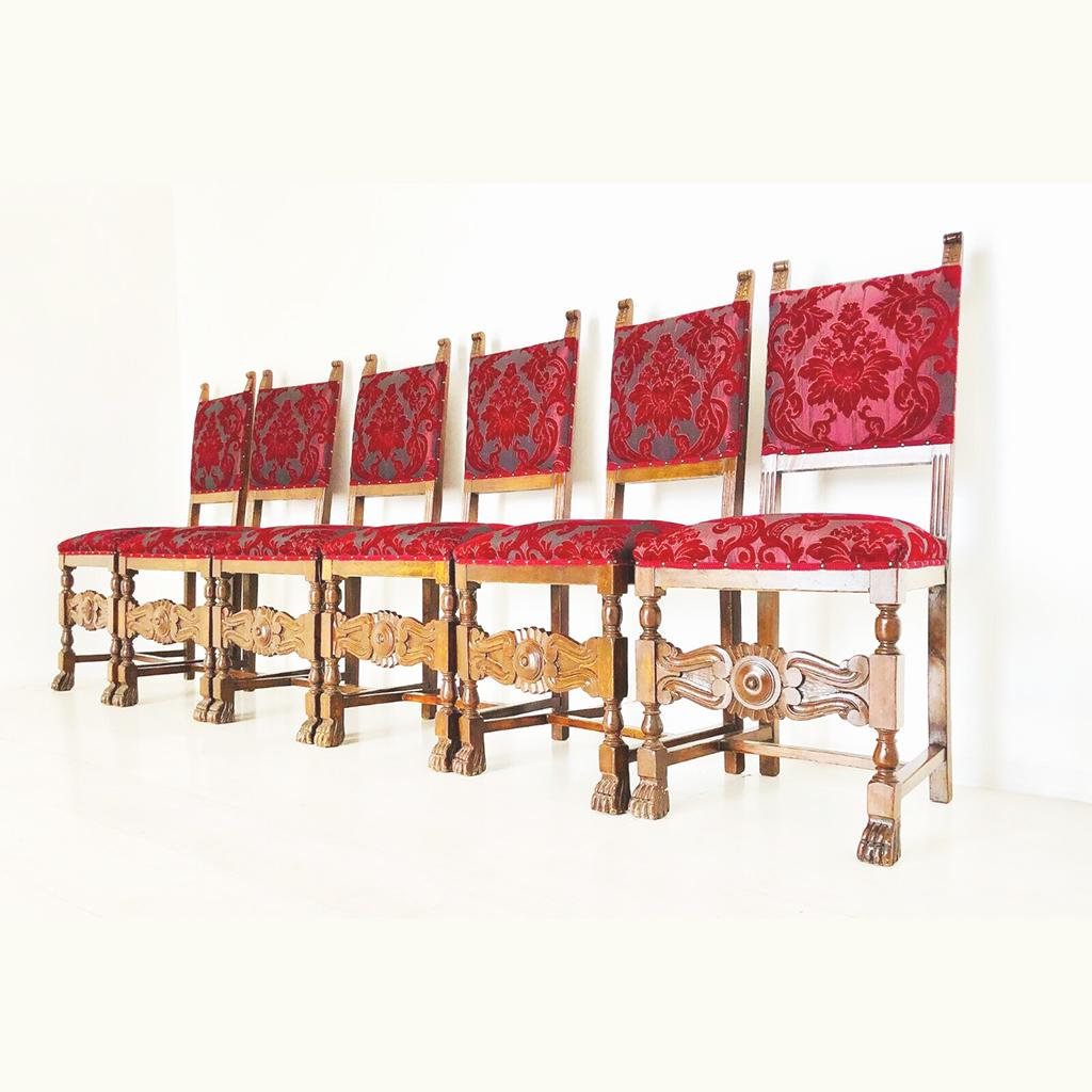 Set di sei Sedie in stile Rinascimento dei primi del 900 ...