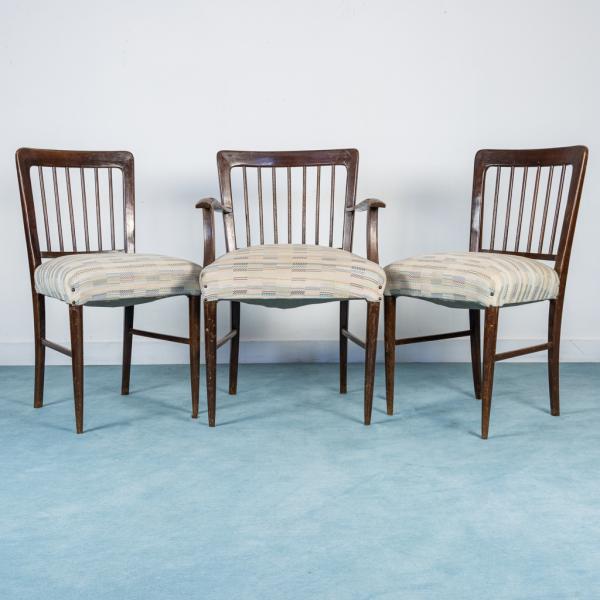 Set di tre sedie da ufficio in legno design anni '50 - Old Era