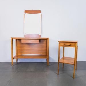 Set 2 mobili consolle d'ingresso con specchio anni 60 Vintage Modernariato
