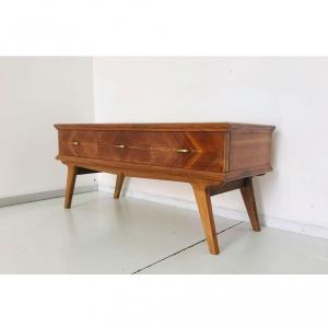 Consolle in legno e vetro vintage design anni '70