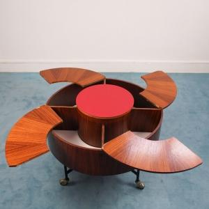 Tavolino Portabottiglie a scomparsa design anni '70