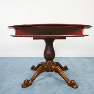 Tavolo tondo in noce ed ecopelle design anni '50