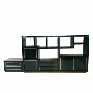 Libreria - scaffale laccato nero vintage design anni 80