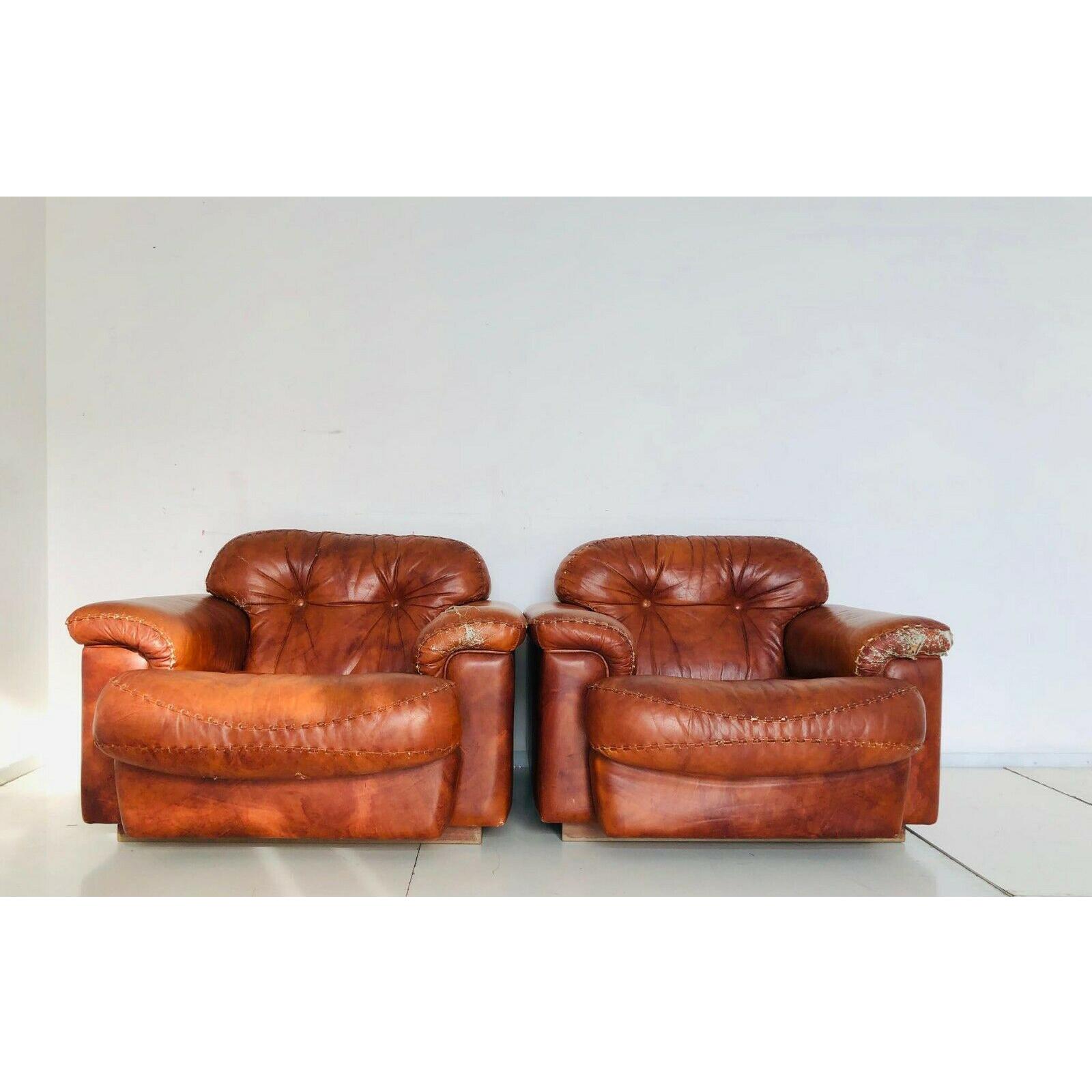 Poltrona Design Anni 70.Due Poltrone In Pelle Vintage Chair Design Anni 70 Old Era