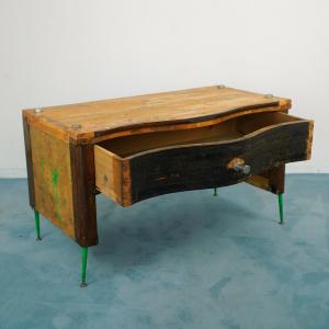 Scrivania in legno vintage stile industrial design anni 70