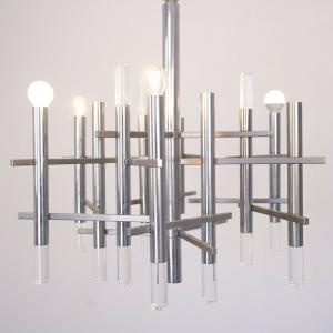 Lampadario 9 luci Gaetano Sciolari design anni '70 vintage