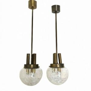 Coppia 2 Lampadari 3 luci ottone vetro