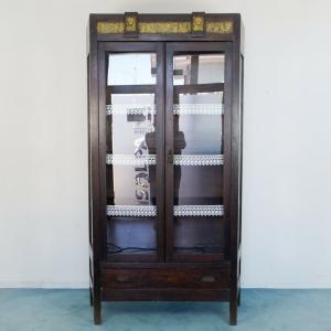 Mobile vetrina credenza legno ottone