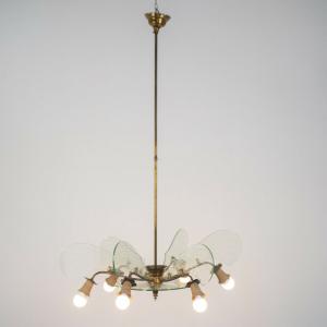 Lampadario ottone vetro 6 luci