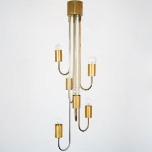 Lampadario Lamter metallo ottone 6 luci