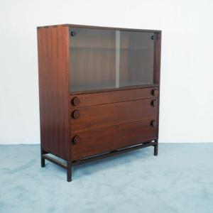 Mobile cassettiera legno teak 3 cassetti vetrina design anni '70 modernariato