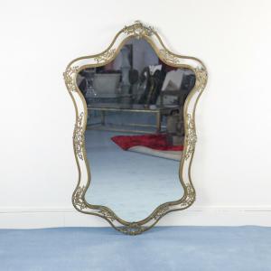 Specchio legno ottone mid century