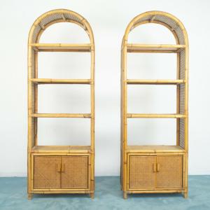 SET 2 librerie legno bambù