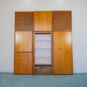 Armadio vetrina legno acero