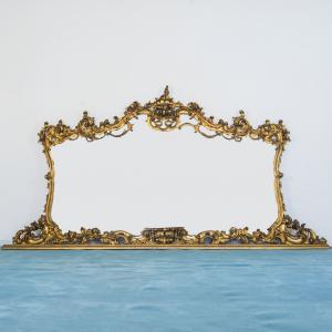 Specchio a parete legno dorato intarsi