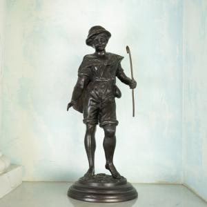 Statua bronzo Pescatore stile vintage originale anno 1900