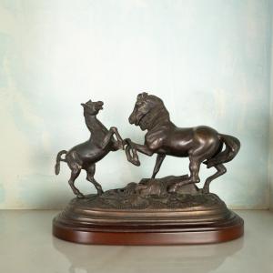 Statua bronzo Cavalli rampanti epoca fine '800