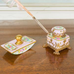 SET Calamaio blotter porcellana bronzo dorato