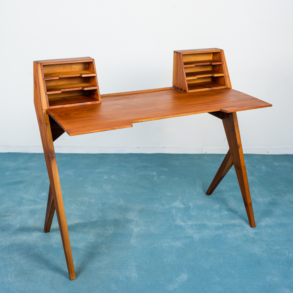 Scrivania Design Anni 50.Scrivania Scrittoio Sedia Mogano Velluto Design Anni 50 Vintage Modernariato Old Era