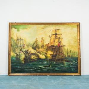 Quadro dipinto battaglia di Trafalgar galeone