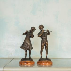 Coppia statue suonatori bronzo epoca fine '800