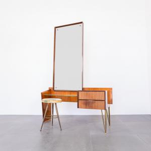Consolle Toeletta sgabello ottone specchio