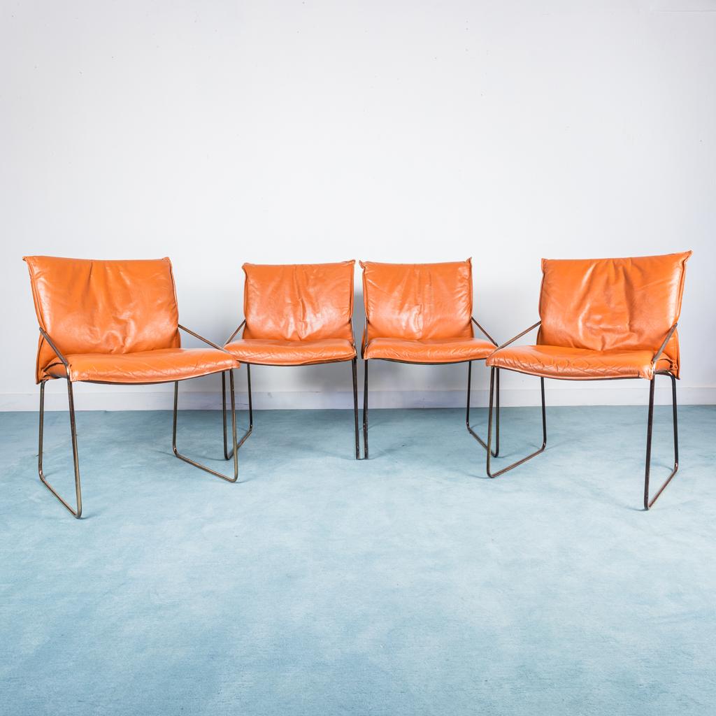 SET 4 sedie tubolare acciaio cromato pelle arancio design ...