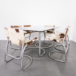 Set da pranzo anni sei sedie cavallino tavolo in acciaio