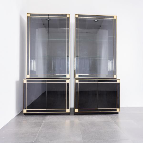 Mobile bar laccata nera in ottone Pierre Cardin