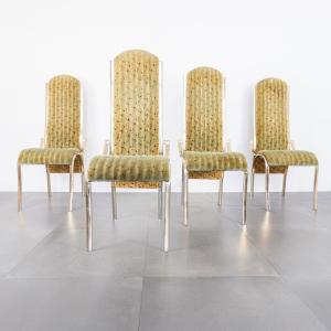 Set quattro sedie curve alcantara metallo dorato design anni 70