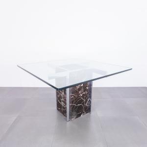 Tavolo da pranzo quadrato acciaio cromato design anni '70