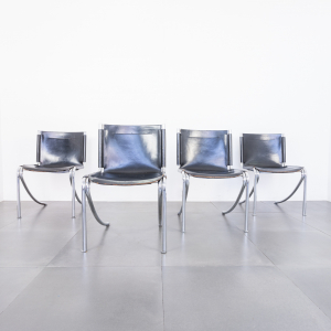 Set quattro sedie Jot pelle tubolare Stoppino design anni '70