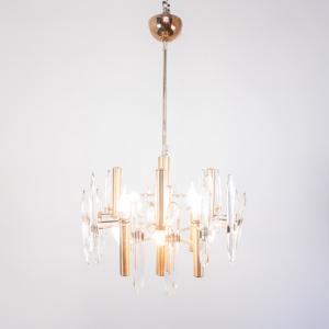 Lampadario sei luci metallo dorato Sciolari design anni '70