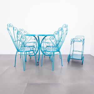 Set da giardino quattro sedie tavolo carrello bar design anni '50