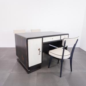 Set da ufficio scrivania ministeriale tre sedie design anni '40