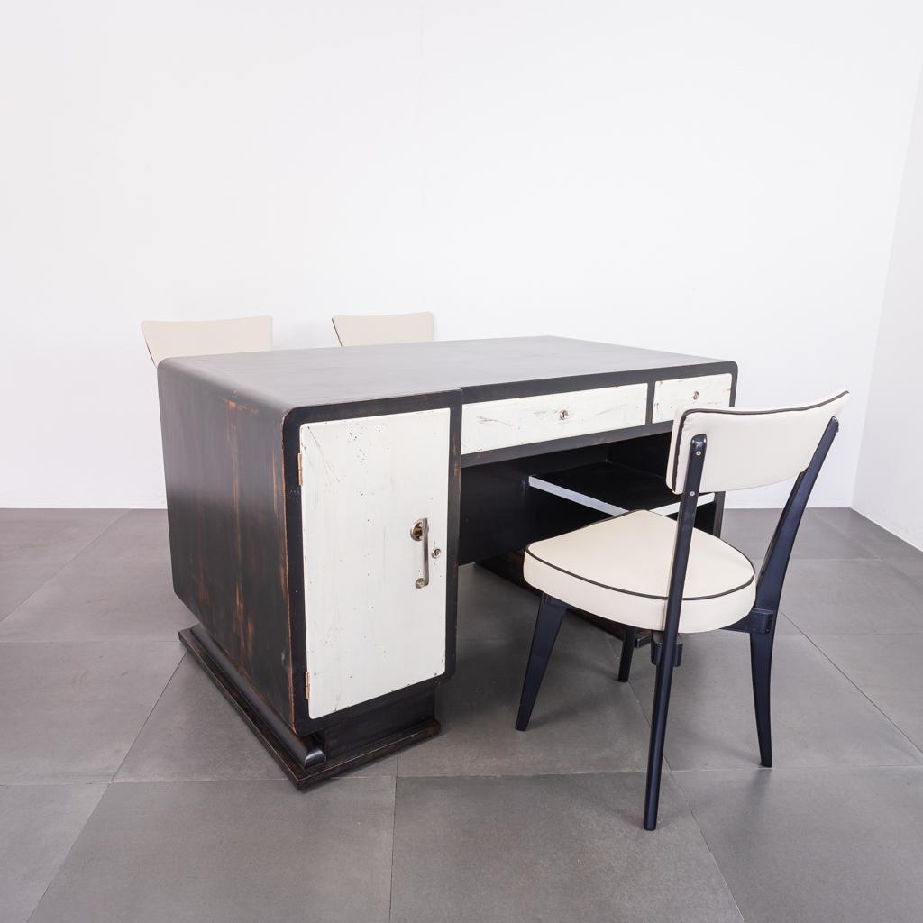 Set Da Ufficio Scrivania Ministeriale Tre Sedie Design Anni 40 Old Era