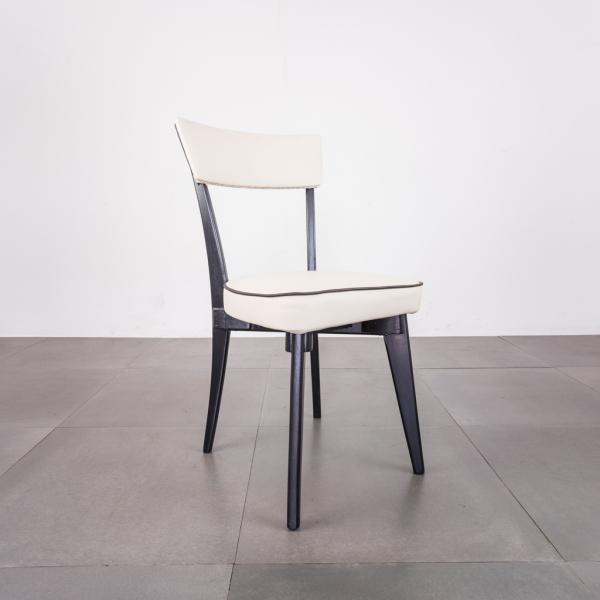 Sedia in legno nero sky bianco design anni '50