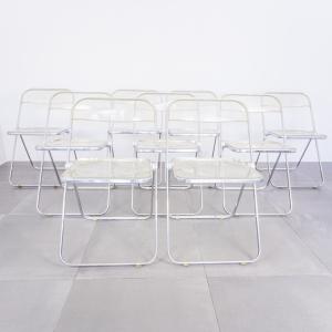 SET 9 sedie pieghevoli Pila Giancarlo Piretti design anni '70
