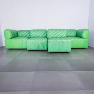 Divano modulare in pelle verde De sede design anni '70
