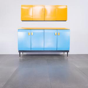 Set da cucina mobile credenza pensile metallo design anni '50