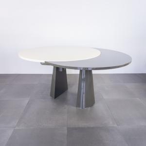 Tavolo da pranzo ovale allungabile legno laccato design anni '80