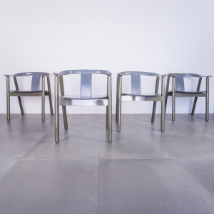 Set 4 sedie in cuoio legno laccato design anni '80